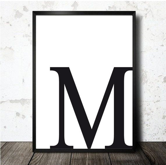 Letter M Poster Printable In A4 Size. M Initial Print Pdf