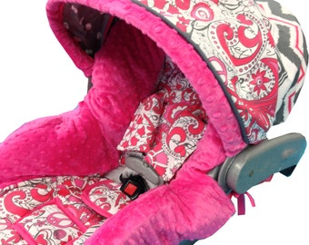Love and Peace Infant Car Seat Cover Floral Gray Pink