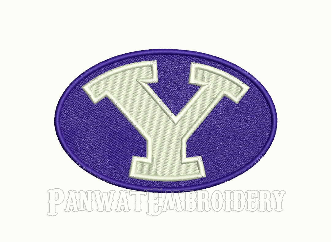 Size byu cougars logo embroidery designs machine