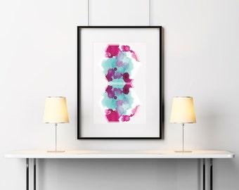 Hexagonal Watercolor Splatter Mirrored Print A5 A4