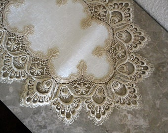 """44"""" Delicate Soft Gold Lace Dresser Scarf Table Runner Doily"""