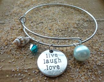 Live Laugh Love Beach Charm Adjustable Bracelet