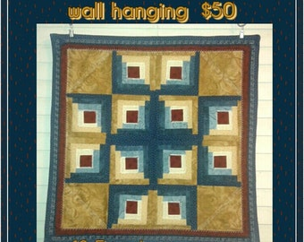 Handmade Quilted Log Cabin Star wall hanging quilt 19.5 inches square
