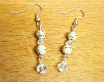 Cream and crystal drop earrings