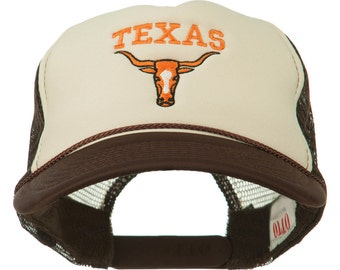 Texas Longhorn Embroidered Foam Mesh Cap