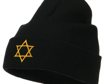 Star of David Embroidered Long Beanie