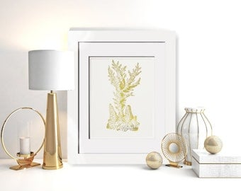 Gold Coral|Nautical Decor|Real Gold Foil Print OPTIONAL Frame|Framed Gallery Wall|Gold Beach Home|Nautical Bathroom|Gold Office Decor|Foil