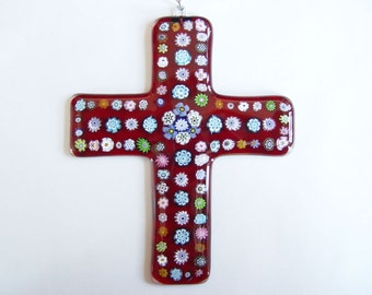 Red Fused Glass Cross with Millefiori A (Wall Art)
