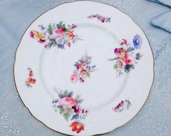 Stunning Hand Painted Antique Coalport Floral Vintage Salad Plate