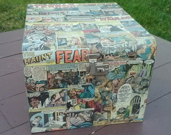 EC Comics Metal Filing Cabinet Decoupage Vintage Horror Comic Books Tales From Crypt