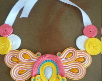 Maxi made Soutache handmade necklace. Craft ladies