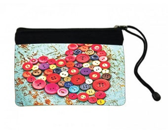 Button Heart Cosmetic Bag