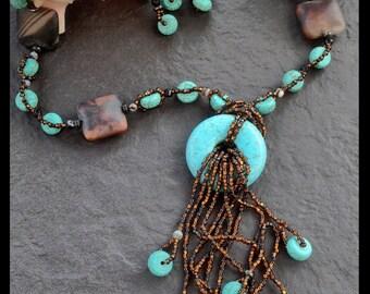 Dark bronze turquoise cascade set
