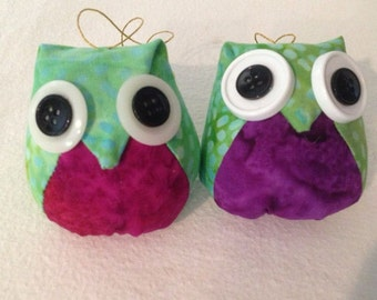 Adorable Green Fabirc Owl Ornament