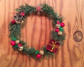 Miniature Christmas Wreath,Miniature Holiday Wreath,Miniature Dollhouse Wreath,Christmas,Miniature,Miniatures,Christmas Decor,Holiday Decor