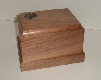 Pet cremation urn (solid black walnut)