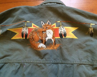 Work shirt with Native American fox art