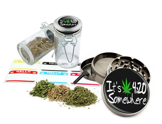 "It's Time - 2.5"" Zinc Alloy Grinder & 75ml Locking Top Glass Jar Combo Gift Set Item # G022115-036"
