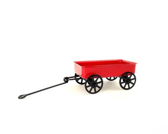 Fairy garden accessory, wagon, red wagon, fairy garden miniature, fairy size wagon, fairy tools, fairy supplies, fairy accessories