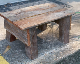 Rustic Bench made from Fence parts;  Planter Stand; Mini Bench