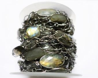 One Foot Labradorite Gemstone Bezel Set Connector Black Plated Beaded Chain , Beaded Jewellery
