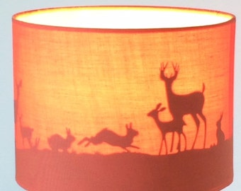 Nursery animal silhouette lamp shade