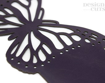 Laser cut leather cuff bracelet - Dark purple butterfly design