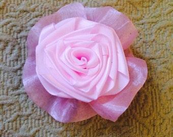 Pastel Pink Rose Hair Clip