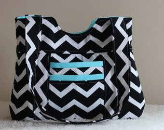 Black Chevron with Blue Lining and Accent Handbag, Purse, Diaper Bag