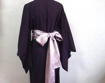 Purple silk obi belt/soft wide type /made of vintage kimono fabric/belt for kimono robe