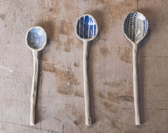 Handmade Ceramic Spoon Handpainted in Light Blue, Dark Blue Stripes or Herringbone Pattern - Made to Order