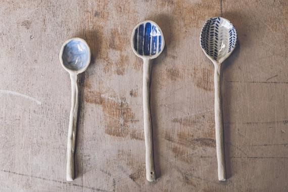 Handmade ceramic spoon handpainted in by debbienichollsstudio