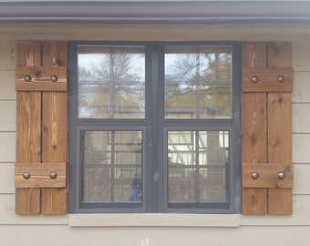 Stained Cedar Shutters Exterior Shutters Board And Batten Shutters Rustic Shutters Wooden