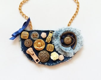 Button necklace, Denim necklace, Textile necklace, Button jewelry, Textile jewelry, Gift for her