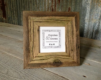 4x4 Square Picture Frame - Natural Rustic Reclaimed Barn Wood - 4x4 Photo Frame - Instagram Photo Frame - Rustic Decor Picture Frame - Texas