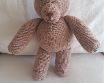 Handmade Knit Stuffed Teddy Bear with Aztec Print