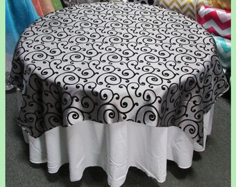 "Table Overlay  Flocking Swirl Taffeta 58"" X 58"" Square Cover - Gray / Black"