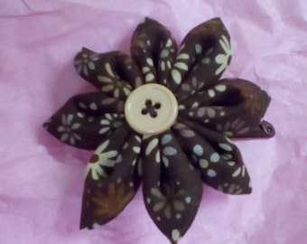 Brown flower fabric hair clip