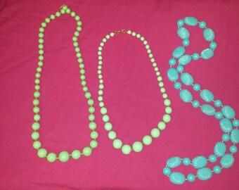 Teal Vintage Necklace Lot // 60s // 70s // 80s