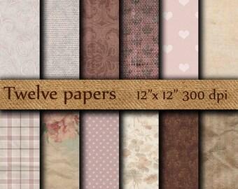 "Vintage digital paper :""  Crumpled paper "" crumpled wallpaper , distressed paper , distressed damask , antique paper , grunge paper"