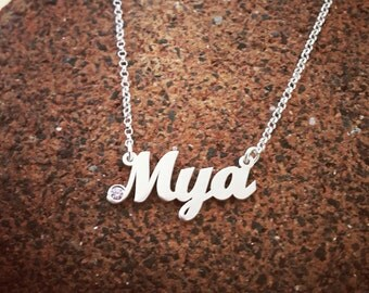 Silver name Necklace / Birthstone Name Necklace / sterling silver name necklace / SALE! /Birthday Gift for girl / small silver name necklace