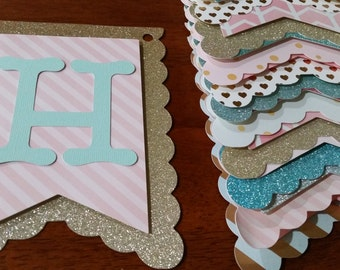 Pink and Gold with Teal Birthday Banner