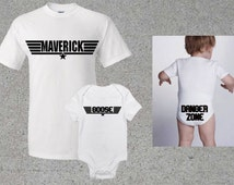 Maverick Goose Top Gun Set, Short Sleeve Adult Shirt & Bodysuit for Baby, Baby Shower Gift Custom Baby Clothes Toddler T Shirt