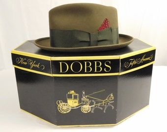 Vintage 1960s Dobbs Fifth Avenue Mens Fedora Hat New in Decorative Hat Box Brown Felt with Brown Band Red Feather Size 7