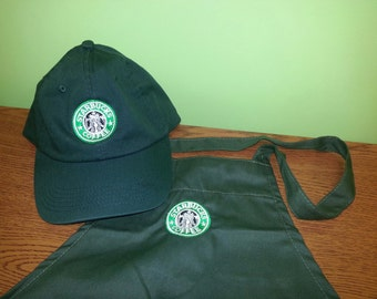 Halloween Costume  Starbucks barista apron and hat set,both adjustable, one size fit all