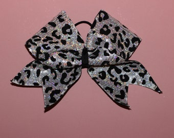 Silver Sparkly Cheetah Cheerleading Bow