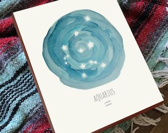 Aquarius Constellation - Aquarius Print - Horoscope Art - Constellation Print - Wood Art Print