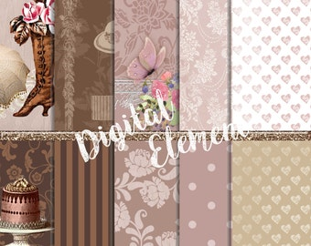 Digital Paper, Scrapbook Paper, Shabby Scrapbook Papers, Digital Vintage Paper, Pink and Brown Digital Paper, Pe-made Pages. No. P144