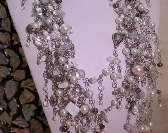Statement Necklace long pearl, crystal - The Jennifer Signature Necklace