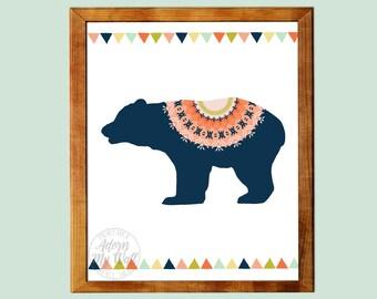 Tribal bear, print, nursery, printable, wall art, instant download, baby shower gift, nursery print, bear printable, tribal nursery, 8x10